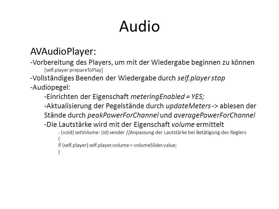 Audio AVAudioPlayer: Vorbereitung des Players, um mit der Wiedergabe beginnen zu können. [self.player prepareToPlay]